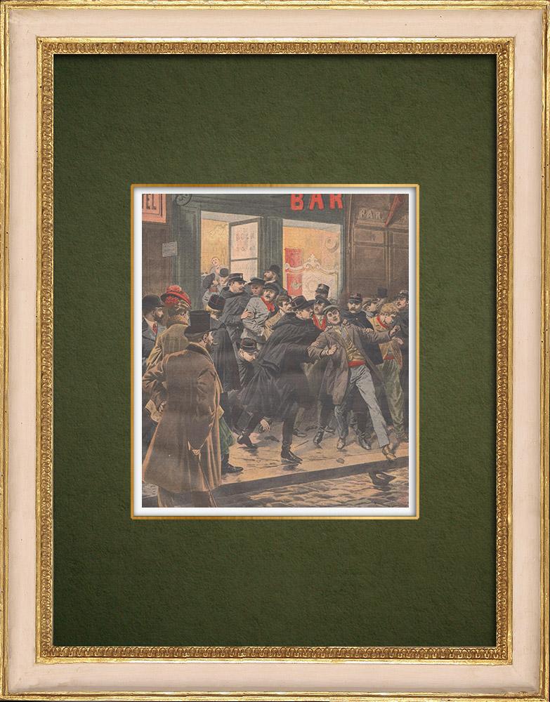 Gravures Anciennes & Dessins   Rafle dans un bar la nuit à Paris - 1907   Gravure sur bois   1907