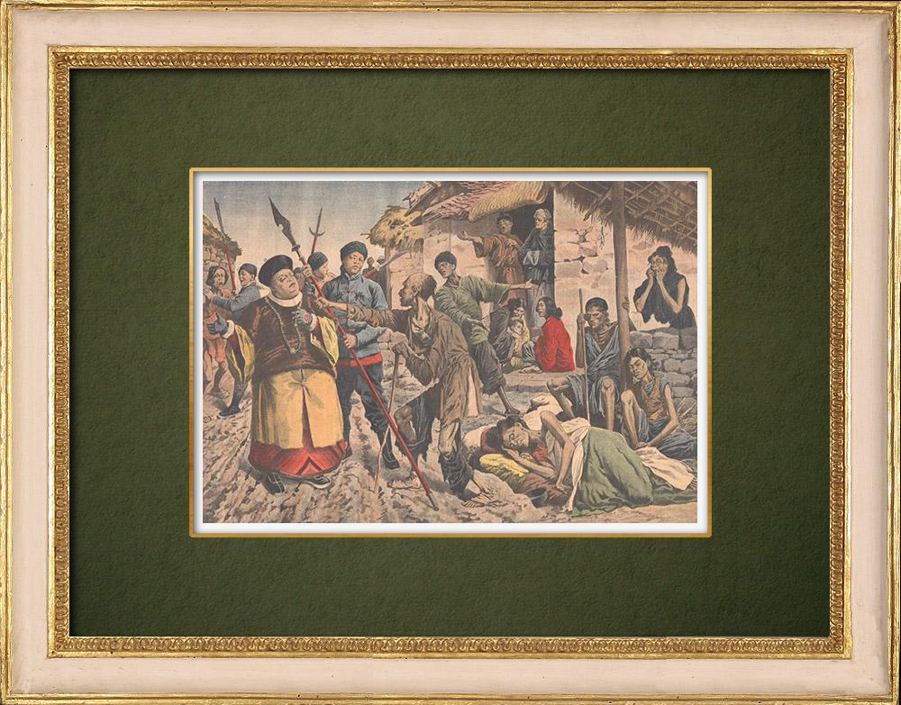 Grabados & Dibujos Antiguos | Hambruna en China - 1907 | Grabado xilográfico | 1907