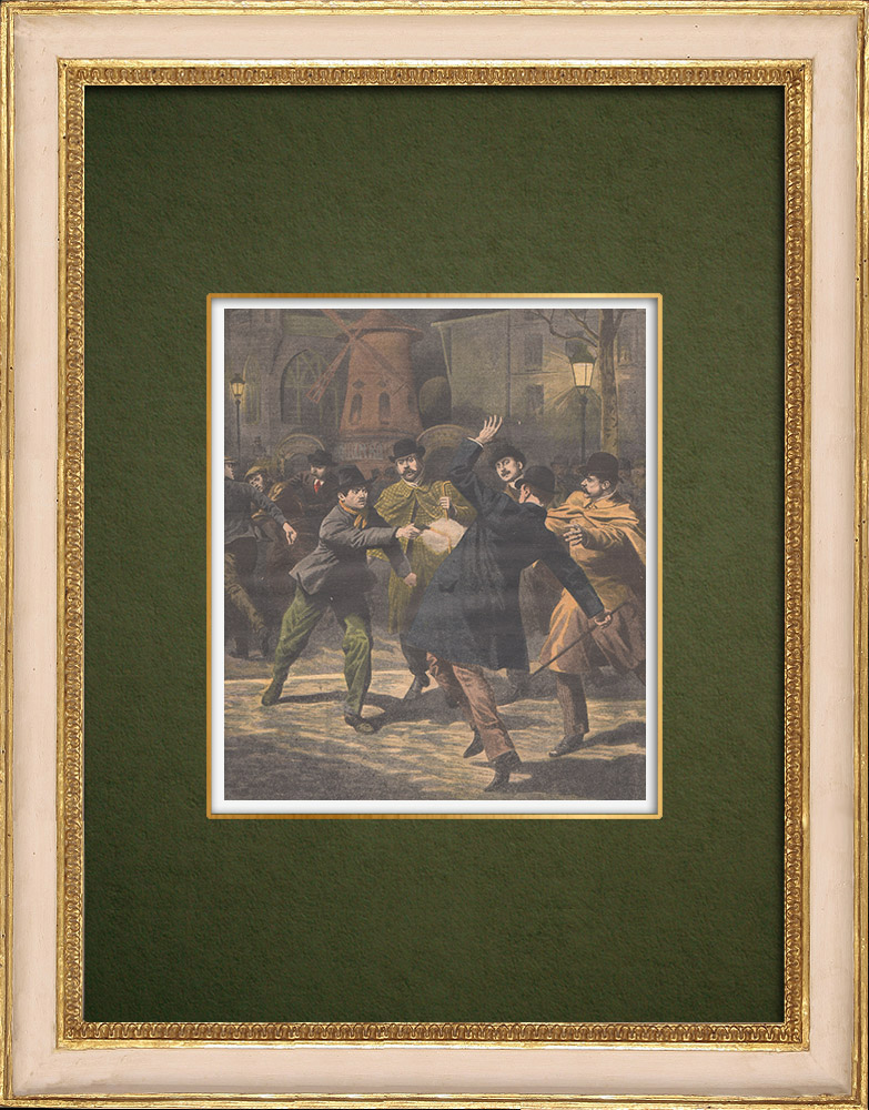 Antique Prints & Drawings | Attack on a police officer in Paris - 1907 | Wood engraving | 1907