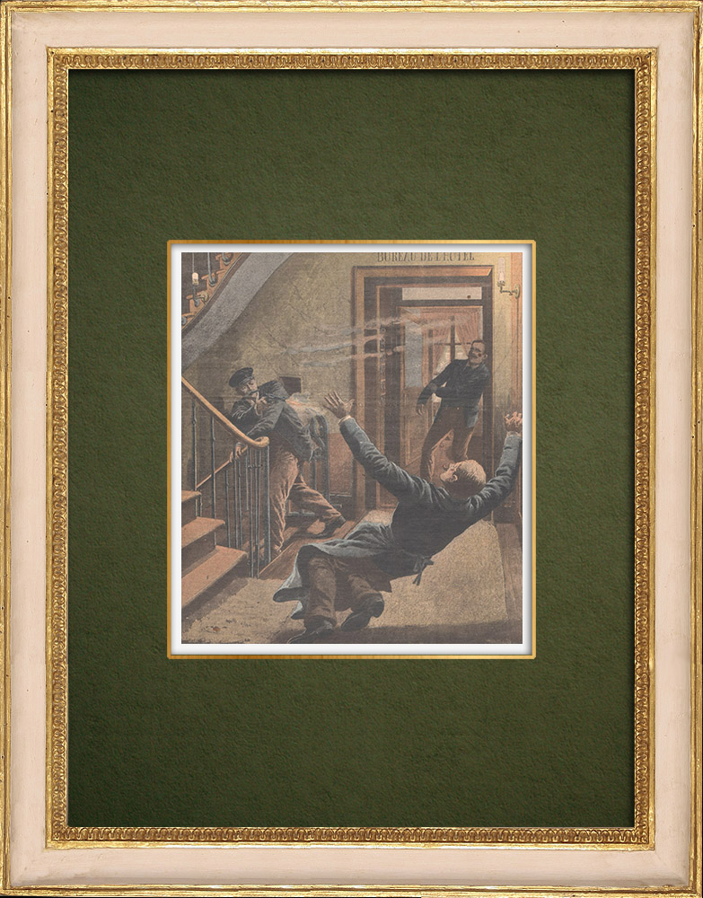 Antique Prints & Drawings   Assassinations in a hotel in Pigalle - Paris - 1907   Wood engraving   1907