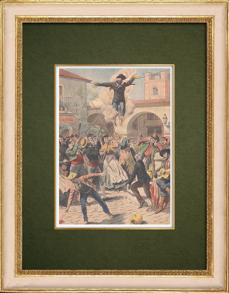Gravures Anciennes & Dessins | Samedi saint en Espagne - Coutumes religieuses - 1907 | Gravure sur bois | 1907