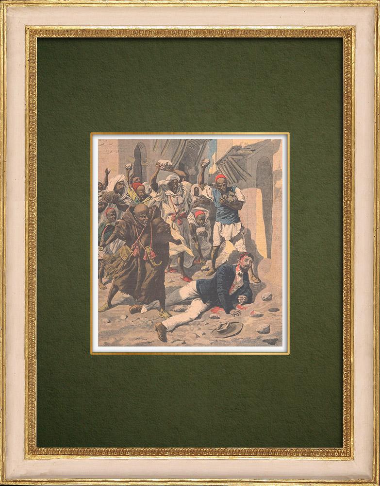 Gravures Anciennes & Dessins   Un médecin français assassiné au Maroc - 1907   Gravure sur bois   1907
