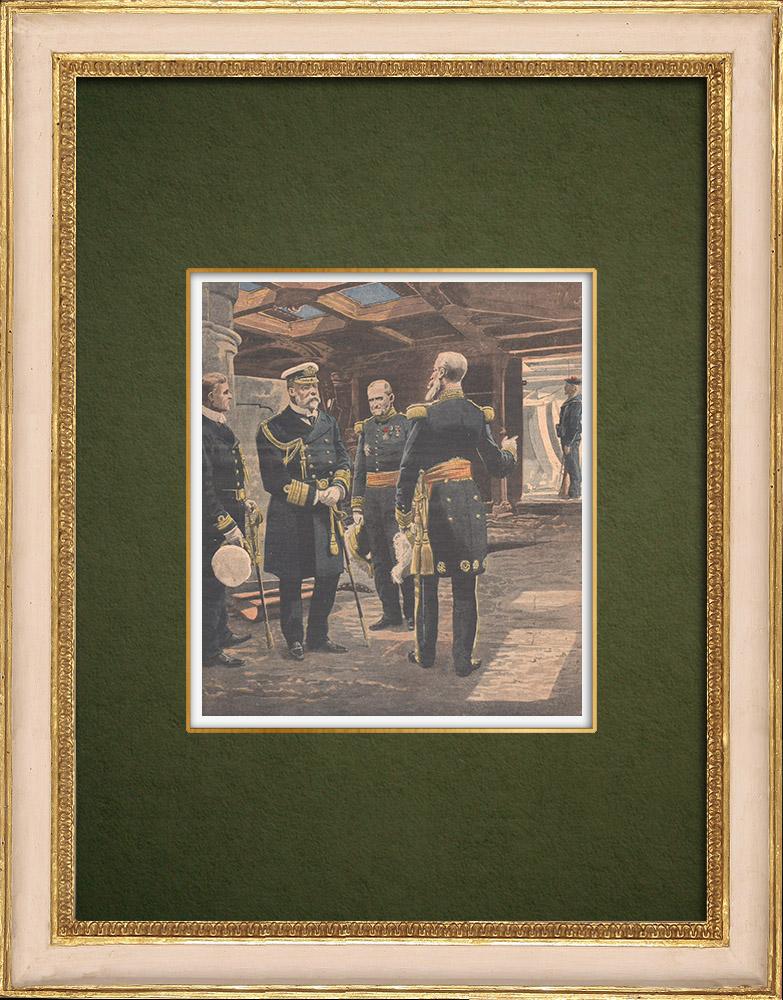 Gravures Anciennes & Dessins | Visite de Edouard VII à bord du Iéna après l'explosion - 1907 | Gravure sur bois | 1907