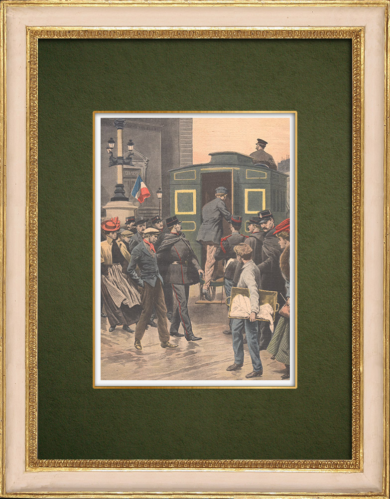 Antique Prints & Drawings   After the Rafle, offenders are taken to the police station - Paris - 1907   Wood engraving   1907