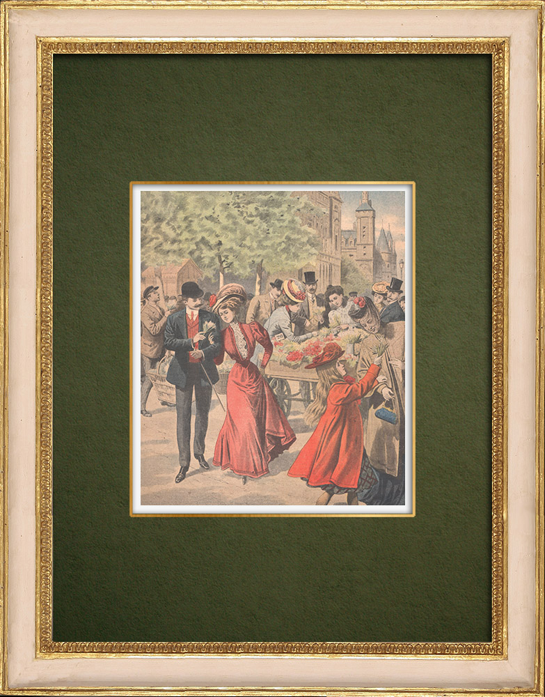 Antique Prints & Drawings | First of May - Feast of Lily of the valley - Paris - 1907 | Wood engraving | 1907