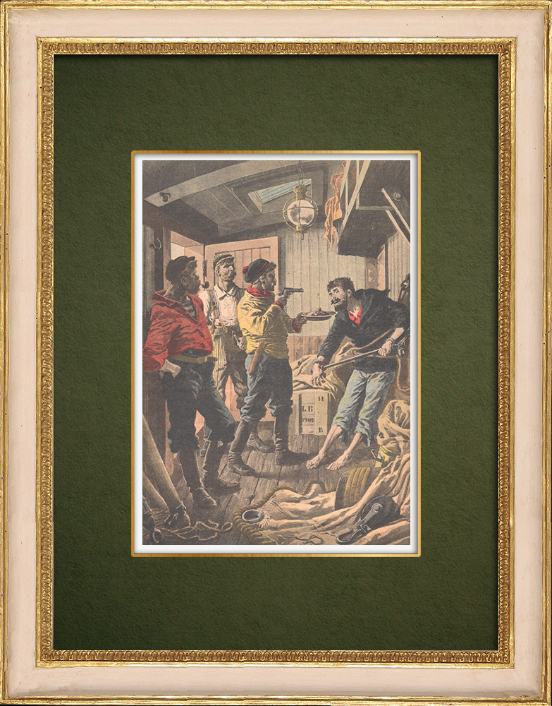 Antique Prints & Drawings   The martyrdom of an Italian sailor aboard the Fenice - 1907   Wood engraving   1907