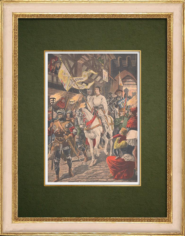 Gravures Anciennes & Dessins   Entrée de Jeanne d'Arc à Orléans (1429)   Gravure sur bois   1907