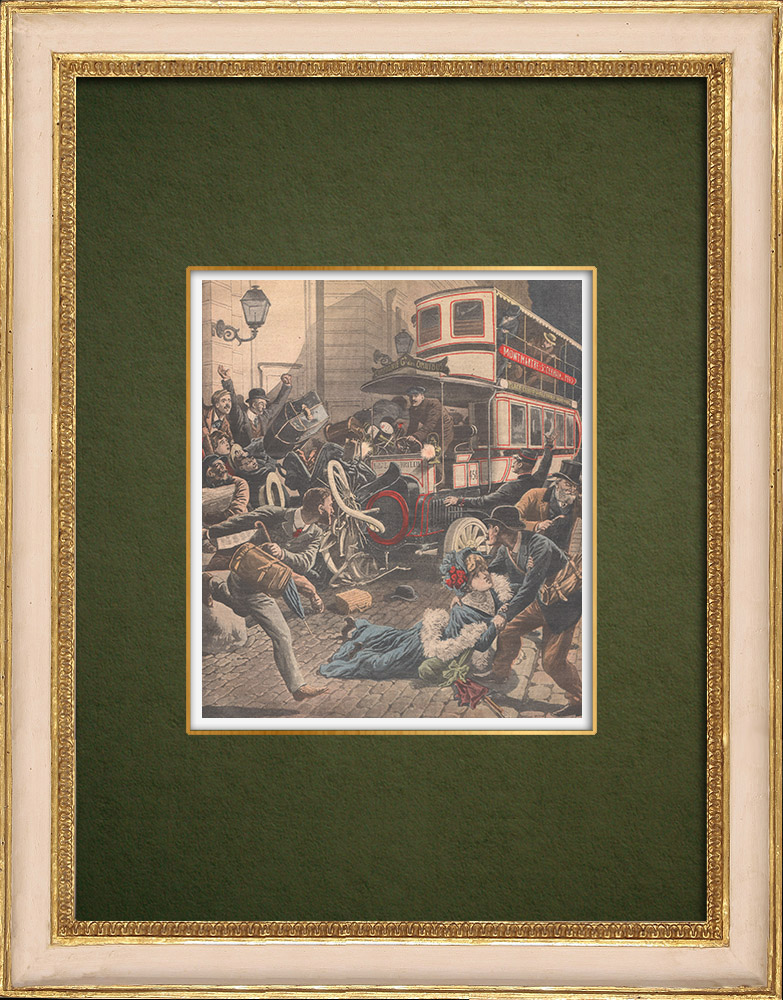 Antique Prints & Drawings | Collision between a fiacre and a bus in Paris - 1907 | Wood engraving | 1907