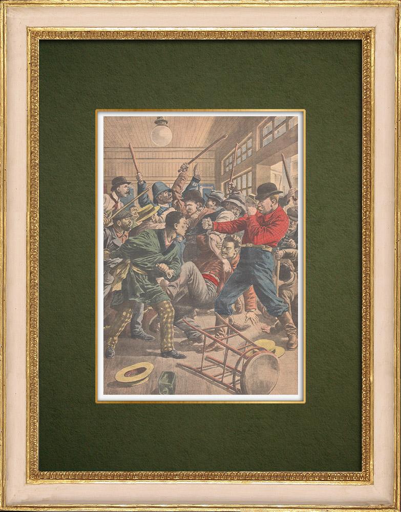 Gravures Anciennes & Dessins | Bagarre entre Américains et Japonais à San Francisco - États-Unis d'Amérique - 1907 | Gravure sur bois | 1907