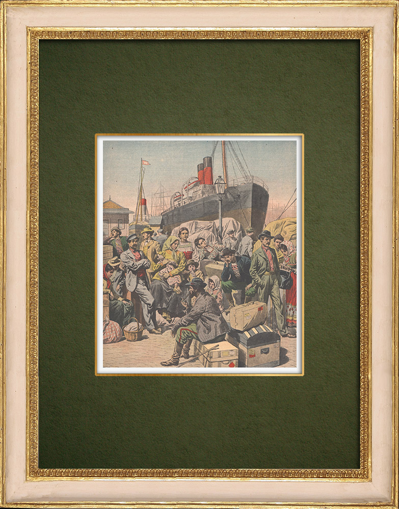 Antique Prints & Drawings   Strike - Emigrants' camp on the quays of Le Havre - France - 1907   Wood engraving   1907