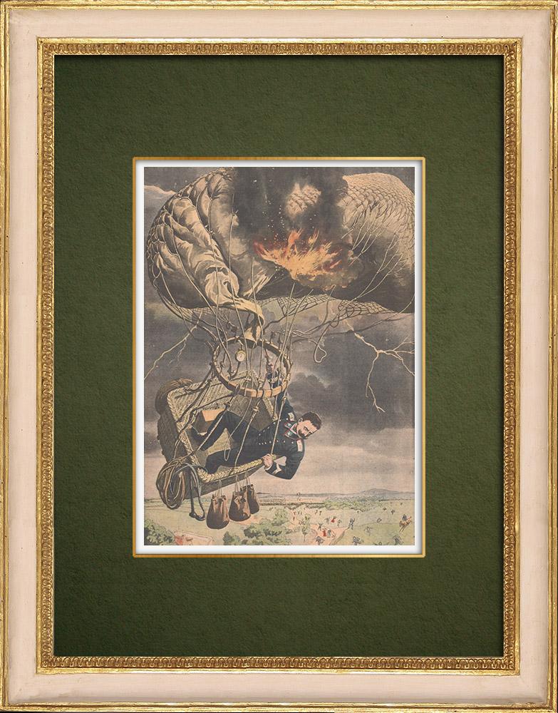 Antique Prints & Drawings | Balloon - Thunderstorm - Lightning - Rome - 1907  | Wood engraving | 1907