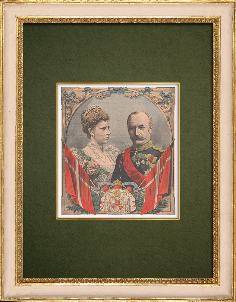 Antique Prints & Drawings | Portrait of Frederick VIII of Denmark and Louise of Hesse-Kassel | Wood engraving | 1907