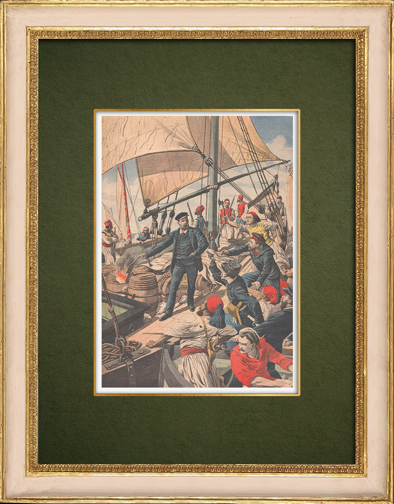 Antique Prints & Drawings | Explosion of a smuggling ship on the tunisian coast - Tunisia - 1907 | Wood engraving | 1907