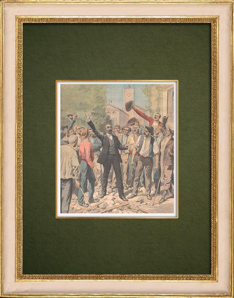 Antique Prints & Drawings   Revolt of Languedoc winegrowers - Marcelin Albert - Argeliers - France - 1907   Wood engraving   1907
