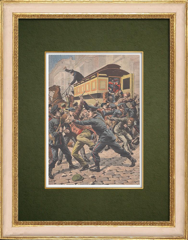 Grabados & Dibujos Antiguos | Ataque de un coche de Policía por matones en París - 1907 | Grabado xilográfico | 1907