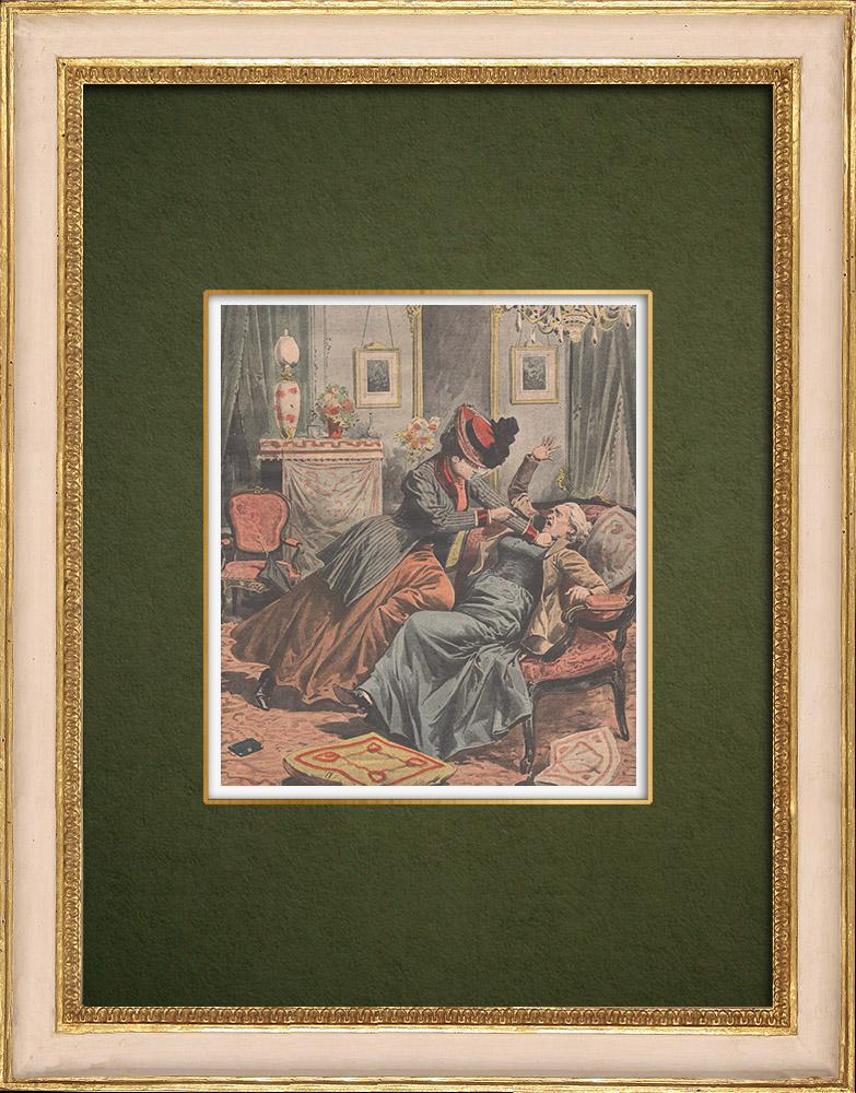 Gravures Anciennes & Dessins | Une femme tente d'assassiner une autre femme à Paris - 1907 | Gravure sur bois | 1907