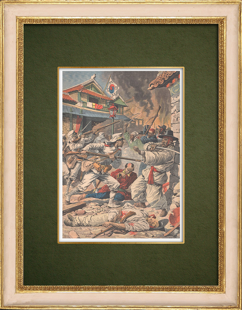 Stampe Antiche & Disegni | Sommossa in Seoul - Invasion of Korea by Japan - Korea - 1907 | Incisione xilografica | 1907
