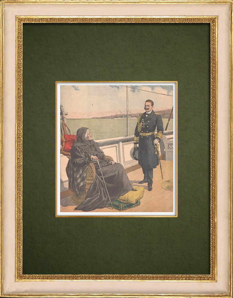 Antique Prints & Drawings   Wilhelm II German Emperor and Eugénie de Montijo aboard her yacht - Norway - 1907   Wood engraving   1907