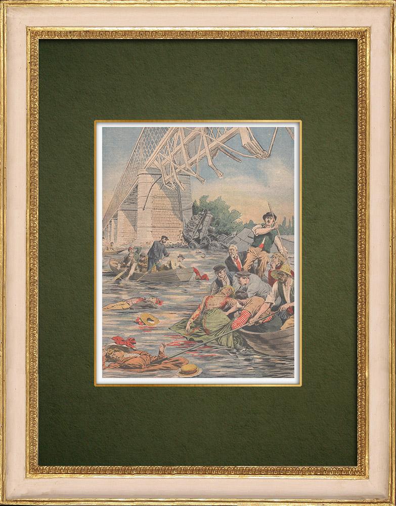 Stampe Antiche & Disegni | Ponts-de-Cé - Crollo del ponte - Un treno cade nella Loira - 1907 | Incisione xilografica | 1907