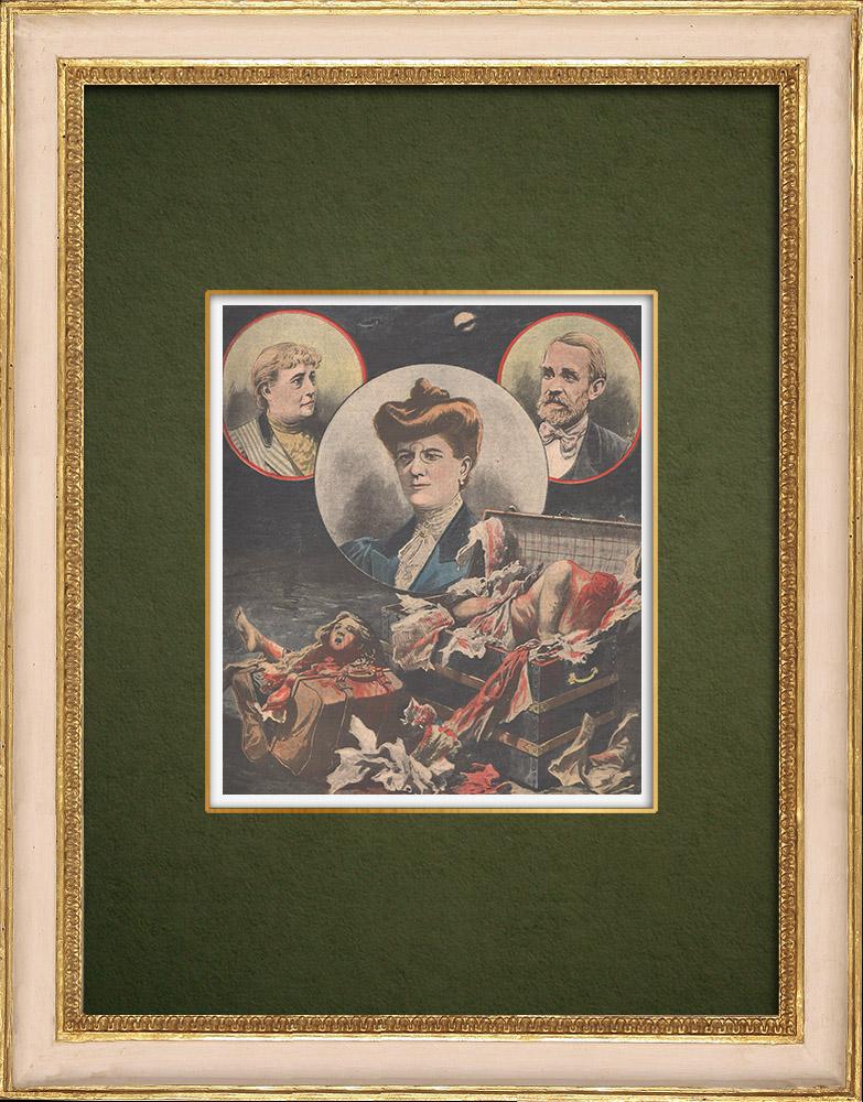 Stampe Antiche & Disegni | Il assassinio di Monte Carlo - Marsiglia - 1907 | Incisione xilografica | 1907