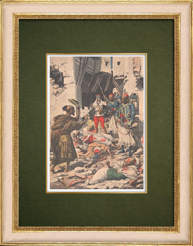 Stampe Antiche & Disegni | Bombardamento di Casablanca - Colonizzazione Francese - Marocco - 1907 | Incisione xilografica | 1907