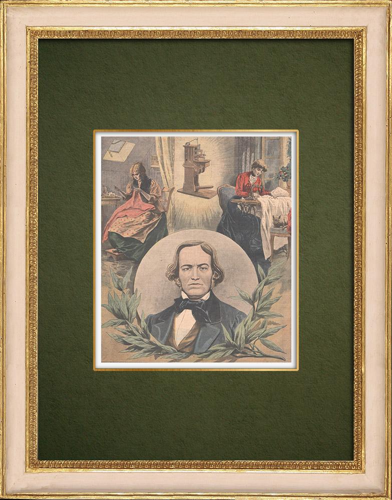 Gravures Anciennes & Dessins | Portrait de Barthélemy Thimonnier (1793-1857)  | Gravure sur bois | 1907