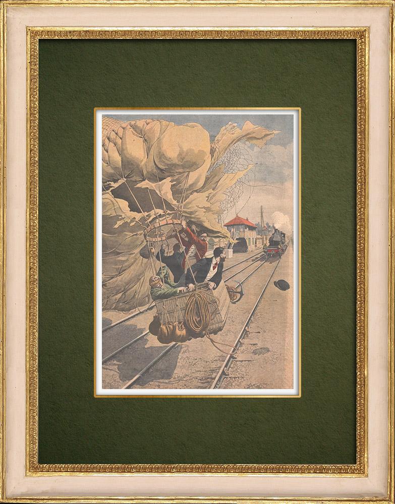 Antique Prints & Drawings | A balloon falls on the rail tracks - Lyon-Marseille - 1907 | Wood engraving | 1907