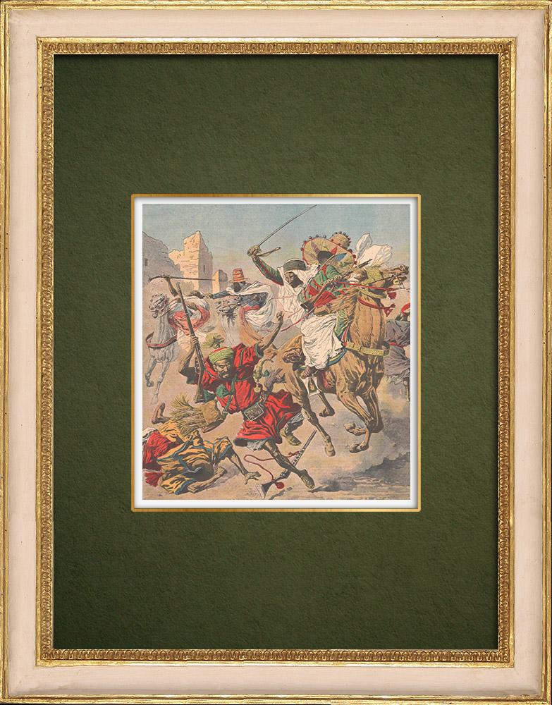 Gravures Anciennes & Dessins | Pacification du Maroc - Les Goumiers combattent avec l'armée française - Casablanca - 1907 | Gravure sur bois | 1907