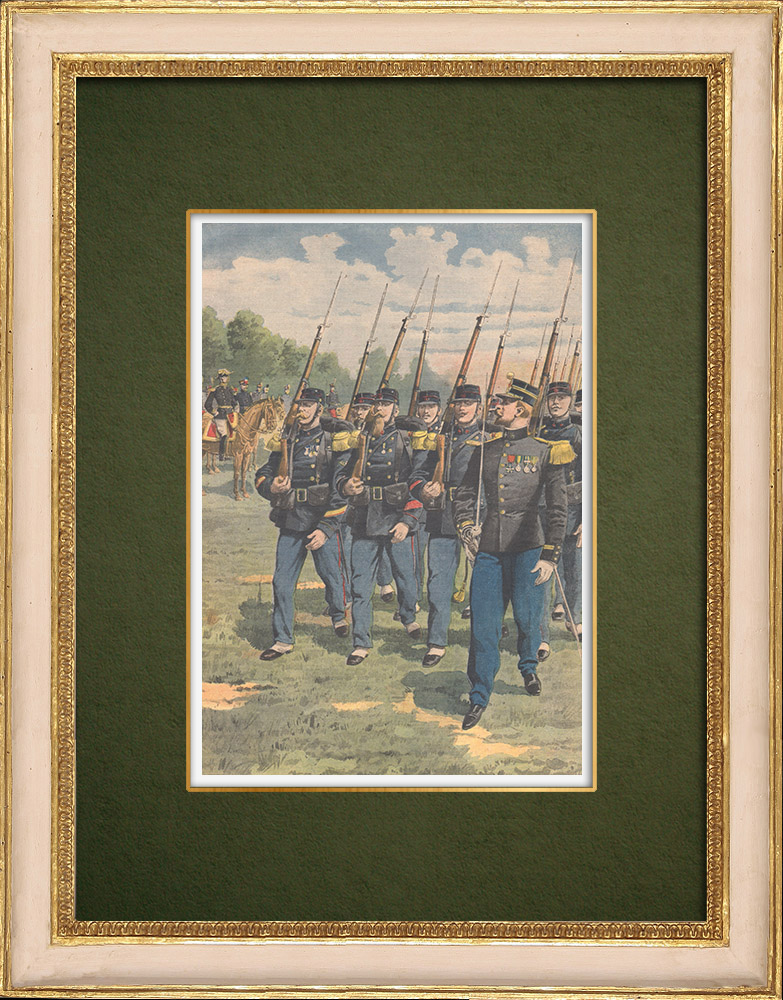 Antique Prints & Drawings | Colonial infantry - French conquest of Morocco - 1907 | Wood engraving | 1907