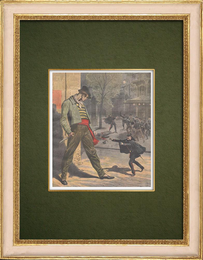 Antique Prints & Drawings | The thugs in Paris - 1907 | Wood engraving | 1907