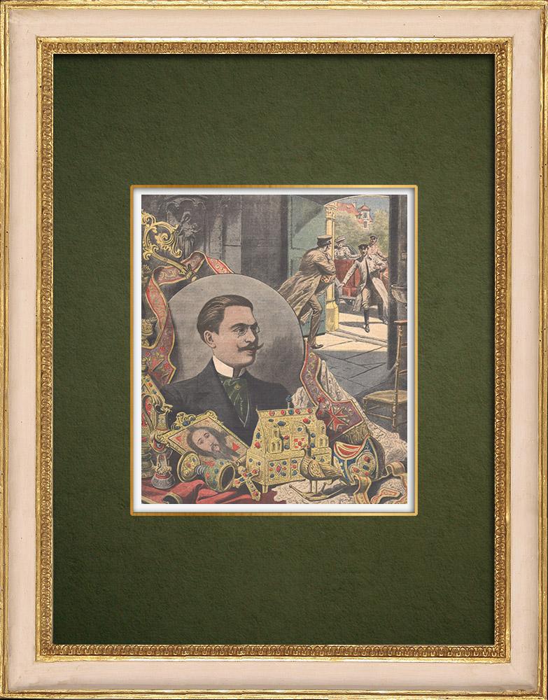 Antique Prints & Drawings   Church burglaries - Antony Thomas - France - 1907   Wood engraving   1907