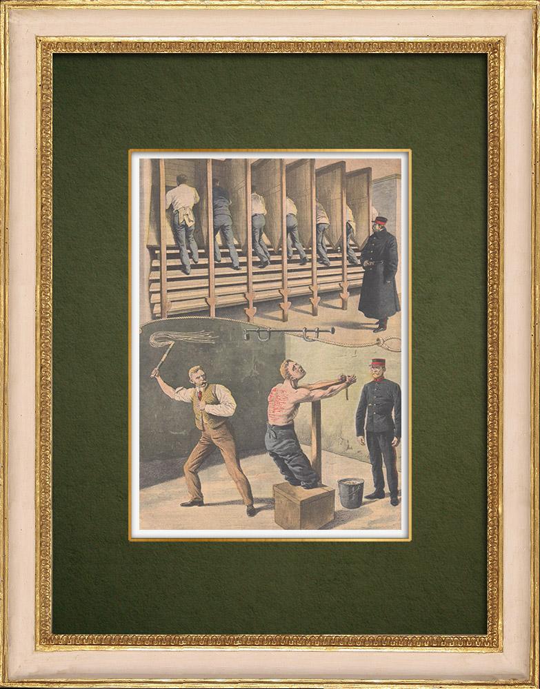 Stampe Antiche & Disegni | Punizioni dei teppisti nelle carceri dell'Inghilterra - 1907 | Incisione xilografica | 1907