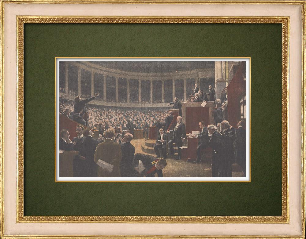 Grabados & Dibujos Antiguos | Cámara de Diputados - Rousseau-Decelle - Pintor francés - Salon 1907 | Grabado xilográfico | 1907