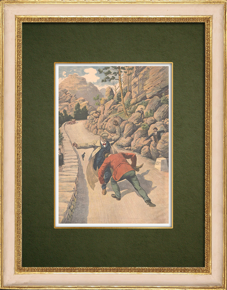 Antique Prints & Drawings | Traitor at the Motherland - Arrest of Ullmo in the Ollioules gorges - France - 1907 | Wood engraving | 1907