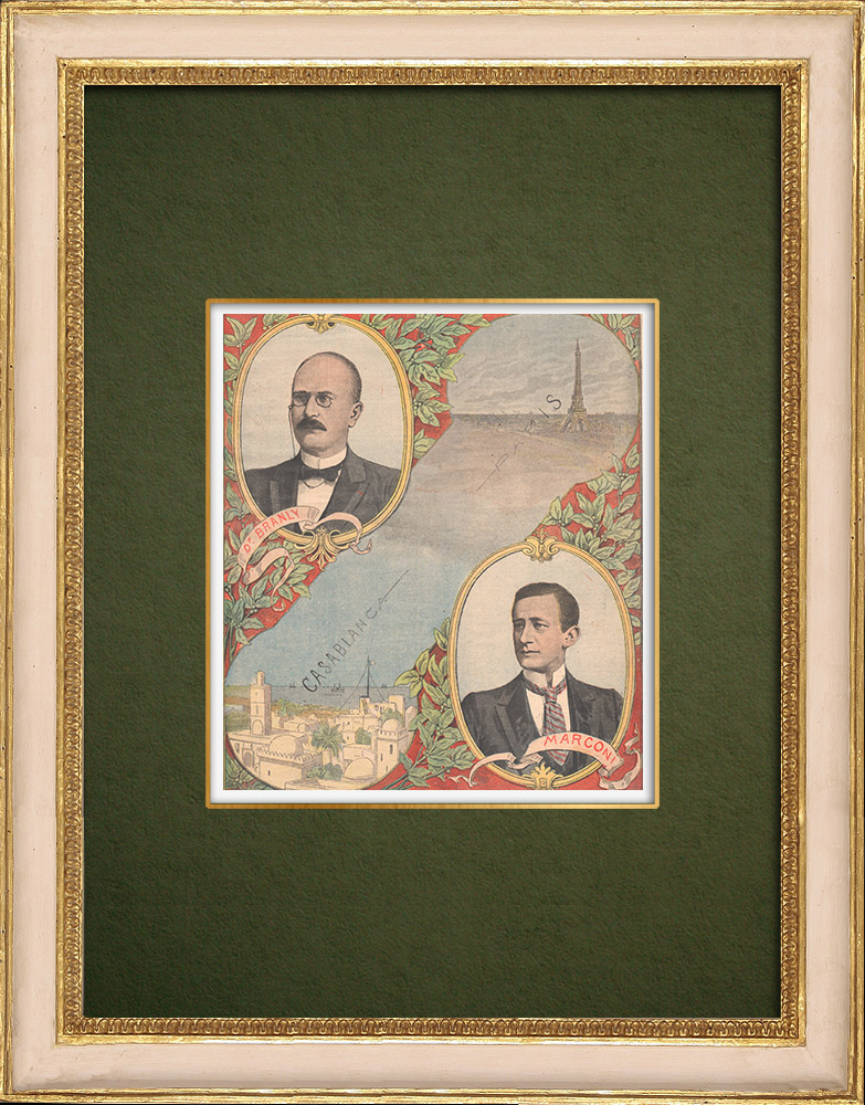 Antique Prints & Drawings | Wireless telegraphy - Branly and Marconi | Wood engraving | 1907