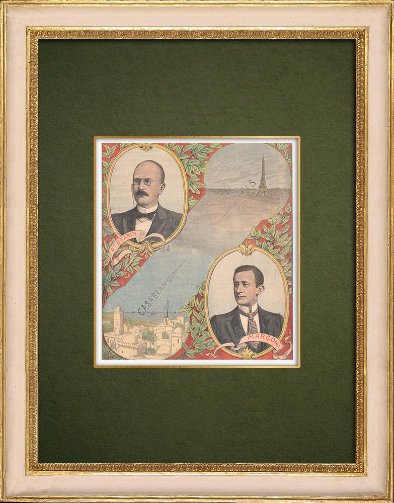 Stampe Antiche & Disegni | Telegrafia senza fili - Branly e Marconi | Incisione xilografica | 1907