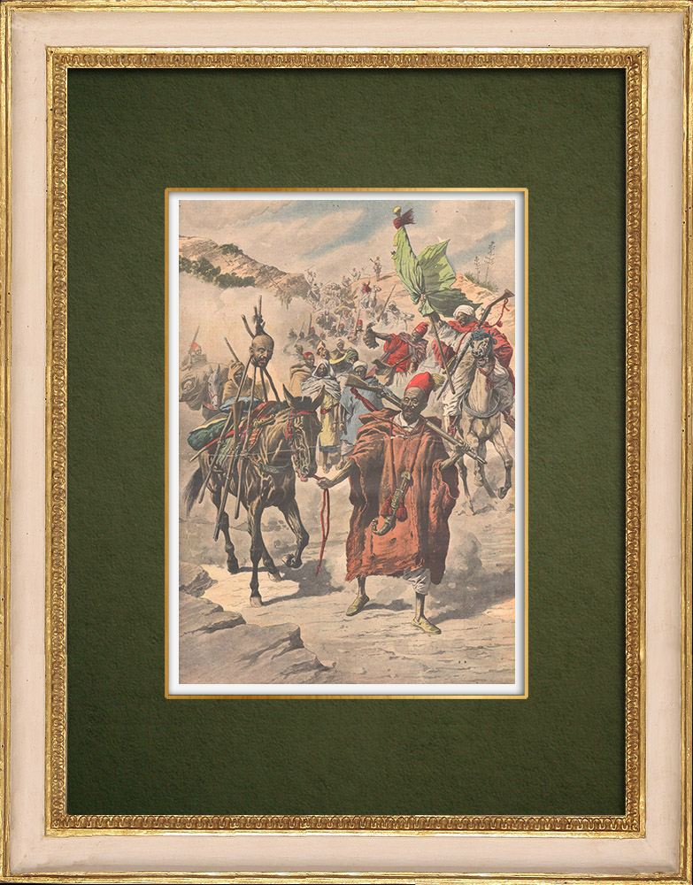 Gravures Anciennes & Dessins | Pacification du Maroc - Anarchie dans les tribus - Maroc - 1907 | Gravure sur bois | 1907