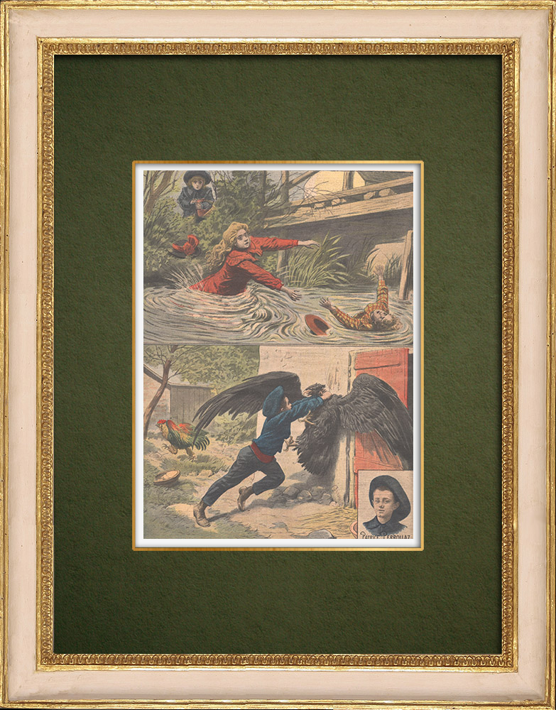 Antique Prints & Drawings | Heroic children - Rescue - Drowning - Corrèze - 1907 | Wood engraving | 1907