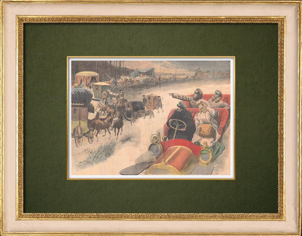 Stampe Antiche & Disegni | Mezzi di locomozione attraverso i secoli - Grand Palais - Parigi - 1907 | Incisione xilografica | 1907