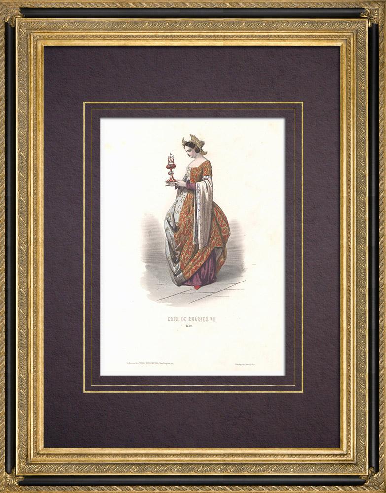 Stampe Antiche & Disegni | Costume della Corte di Carlo VII di Francia - Costumo di donna (1460) | Stampa calcografica | 1854