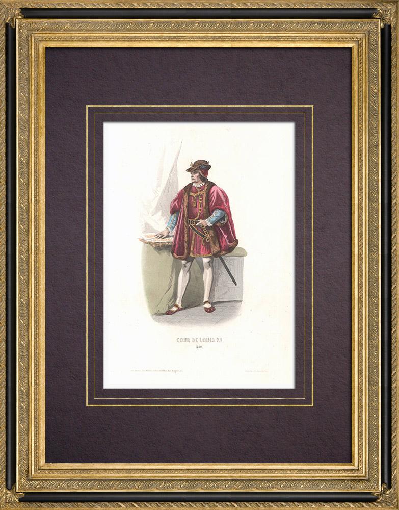 Gravures Anciennes & Dessins   Costume de la Cour de Louis XI de France (1480)   Taille-douce   1854