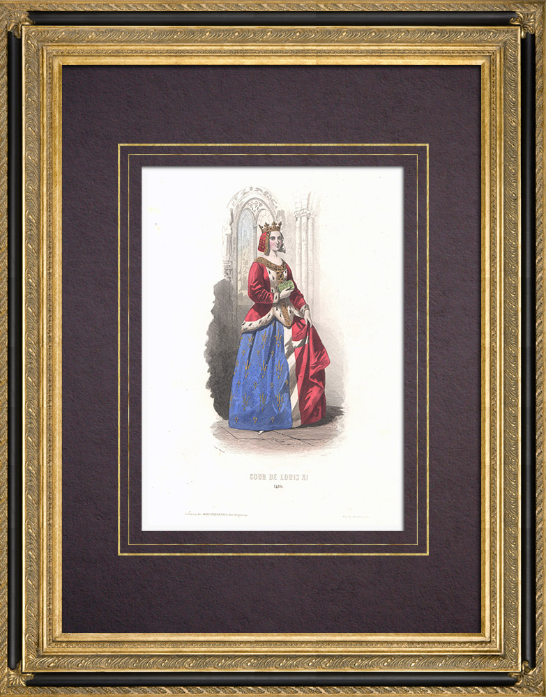 Antique Prints & Drawings | Costume of the Court of Louis XI - Costume of woman (1480) | Intaglio print | 1854
