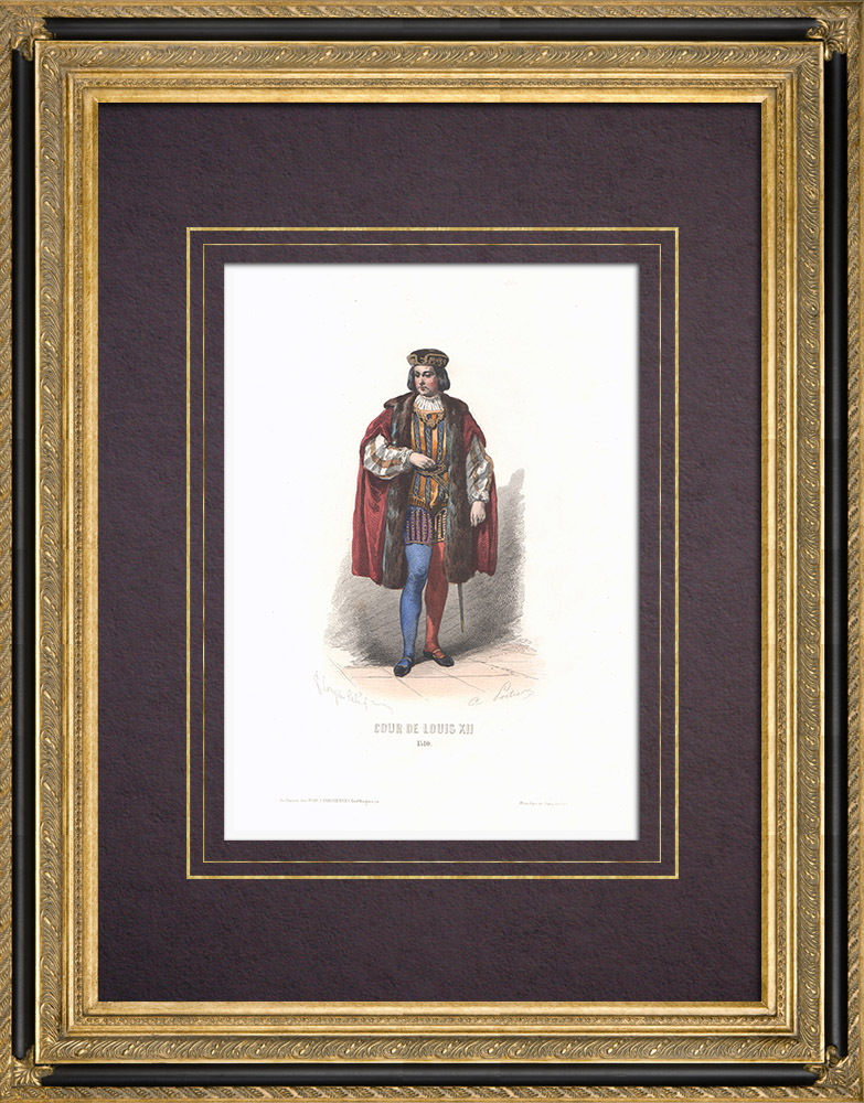 Antique Prints & Drawings | Costume of the Court of Louis XII of France (1510) | Intaglio print | 1854