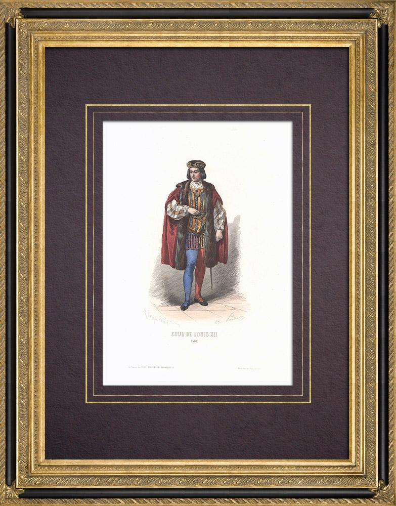Stampe Antiche & Disegni | Costume della Corte di Luigi XII (1510) | Stampa calcografica | 1854