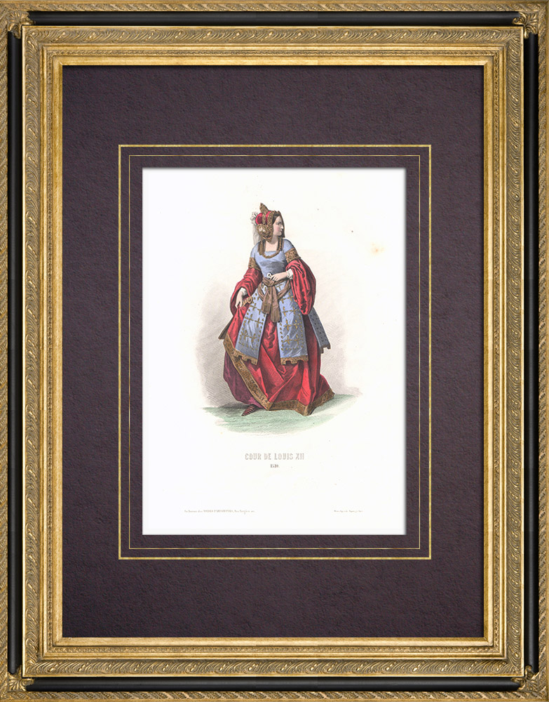 Antique Prints & Drawings   Costume of the Court of Louis XII of France - Costume of woman (1510)   Intaglio print   1854