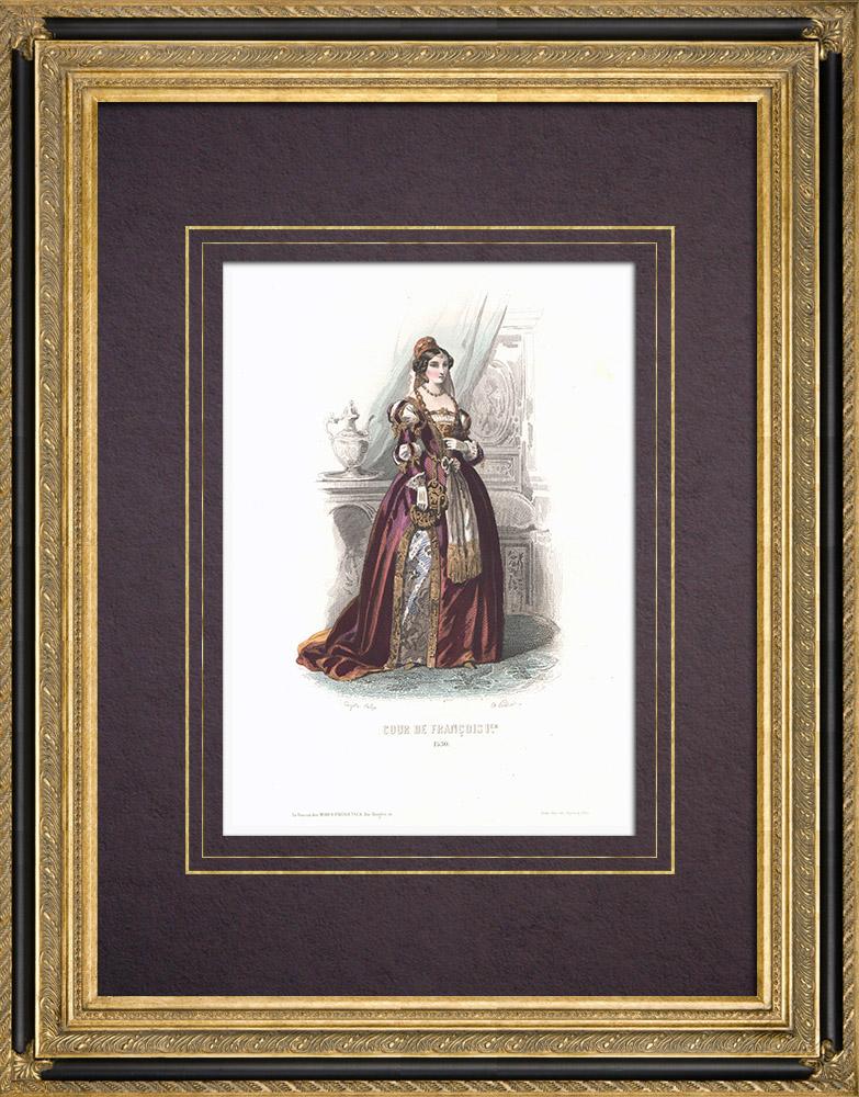 Gravures Anciennes & Dessins | Costume de la Cour de François Ier - Costume de femme (1530) | Taille-douce | 1854
