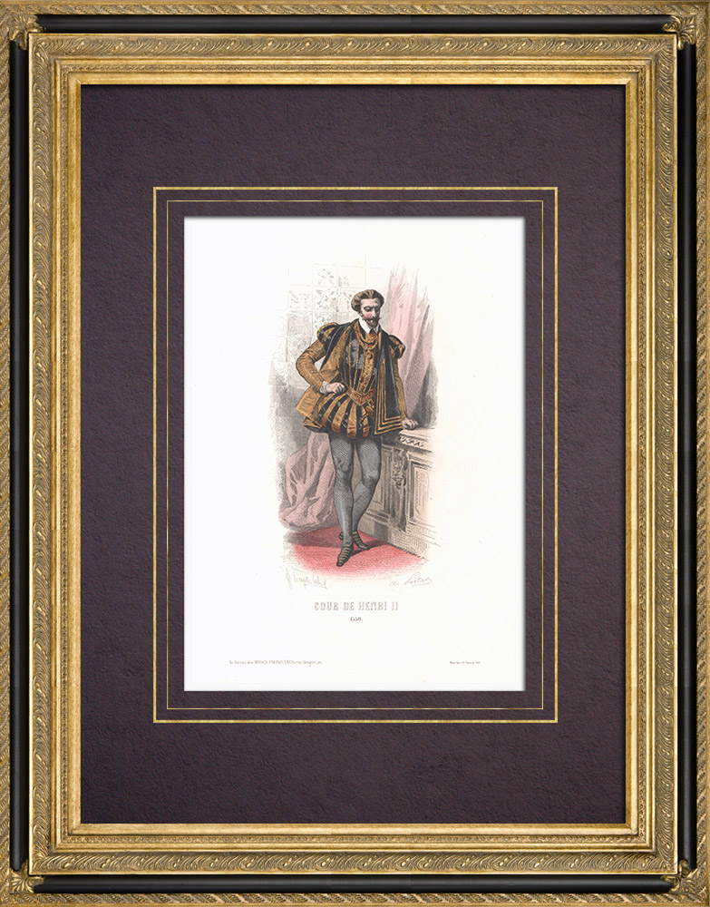 Antique Prints & Drawings | Costume of the Court of Henry II of France (1550) | Intaglio print | 1854