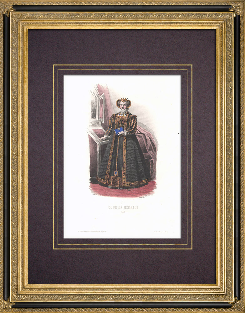 Antique Prints & Drawings   Costume of the Court of Henry II of France - Costume of woman (1550)   Intaglio print   1854