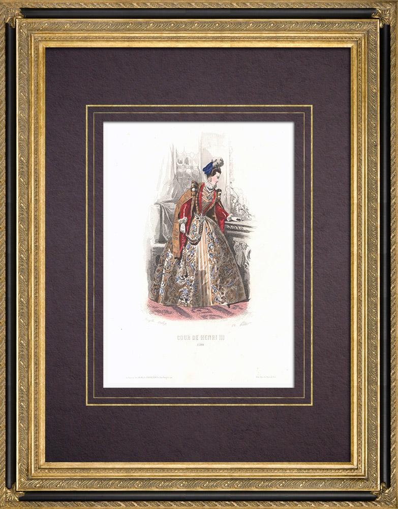 Grabados & Dibujos Antiguos | Traje de la Corte de Enrique III de Francia - Traje de mujer (1580) | Grabado en talla dulce | 1854