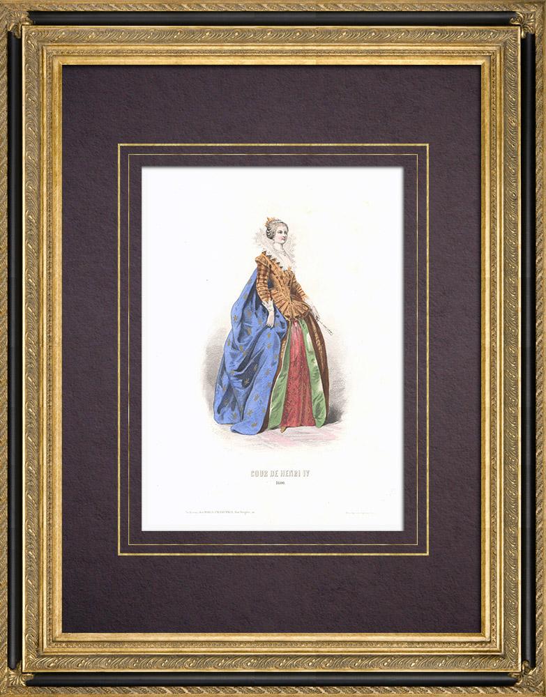Stampe Antiche & Disegni | Costume della Corte di Enrico IV di Francia - Costume di donna (1600) | Stampa calcografica | 1854